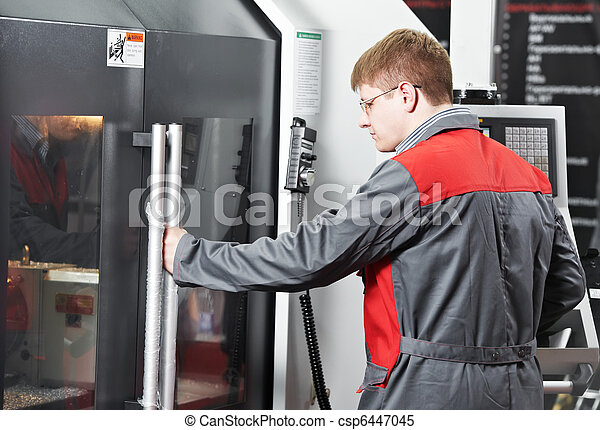 worker at machining tool workshop - csp6447045