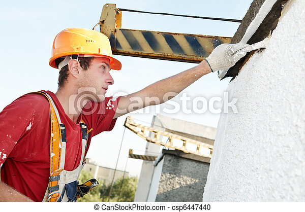 builder facade painter at work - csp6447440