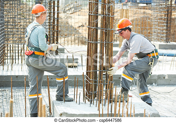 construction workers making reinforcement - csp6447586