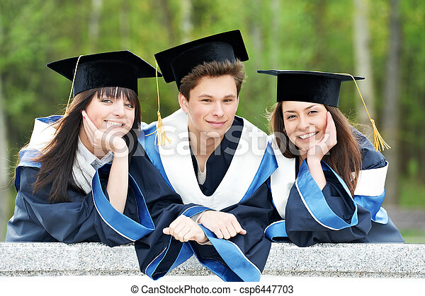 happy graduation students - csp6447703