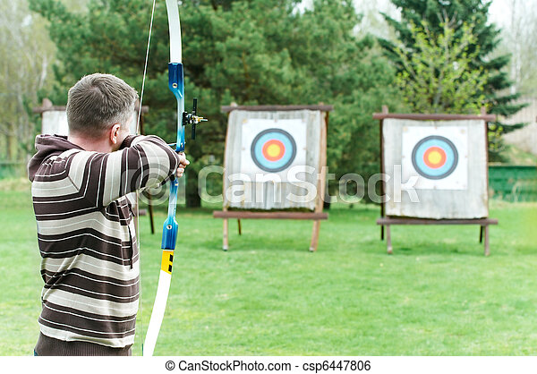 Archer aiming with bow - csp6447806