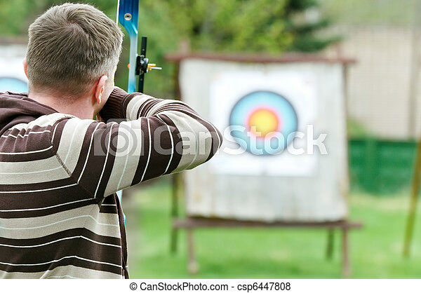 Archer aiming with bow - csp6447808