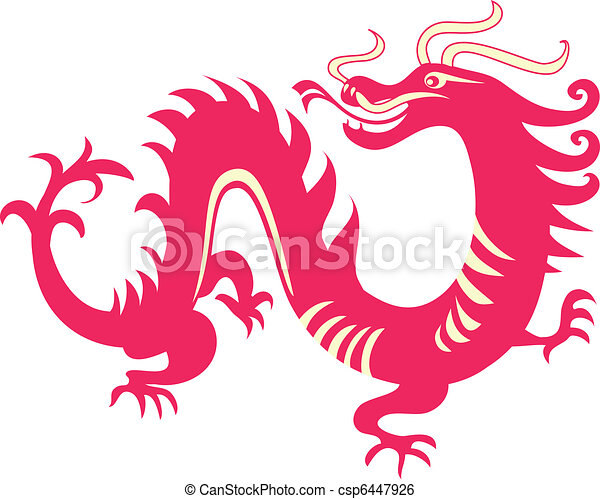 clip art vecteur de chinois dragon rouges dragon traditionnel chinois csp6447926. Black Bedroom Furniture Sets. Home Design Ideas