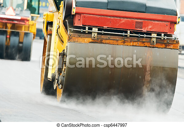 compactor roller at asphalting work - csp6447997
