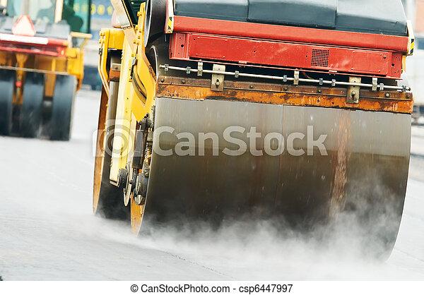 compactor roller at asphalting work - csp6447997