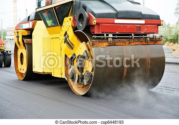 compactor roller at asphalting work - csp6448193