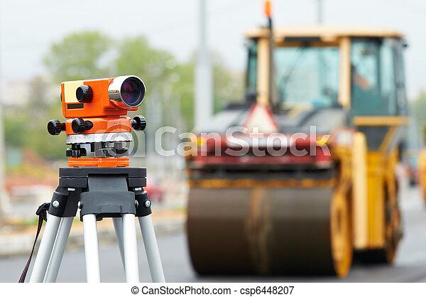 survey equipment at asphalting works - csp6448207