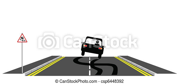 Vector Illustration of Car skidding across the road past warning sign csp6448392 ...