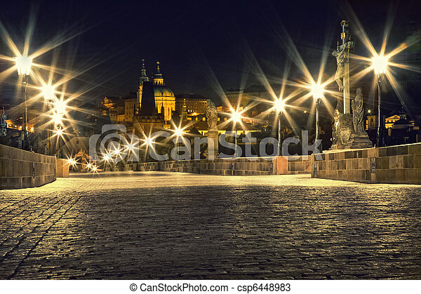 Charles bridge in Prague with lanterns - csp6448983