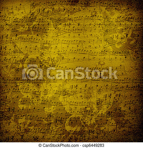 Old alienated musical paper in scrapbooking style for design - csp6449283