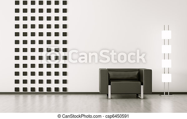 Modern interior of room 3d render - csp6450591