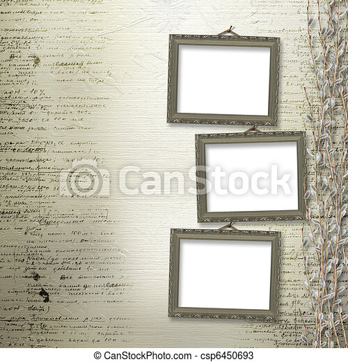 Victorian frames with bunch of willows on the abstract background - csp6450693