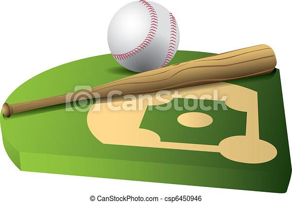 Baseball and bat on 3d field - csp6450946
