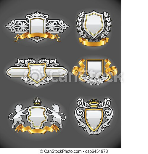 heraldic vintage emblems set silver and gold - csp6451973