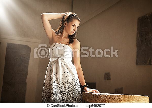 Portrait of a young pretty brunette posin in a stylish interior - csp6452077