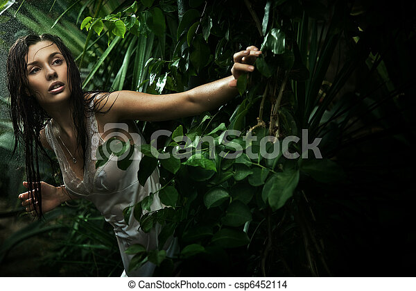 Sexy young brunette beauty in a rain forest - csp6452114