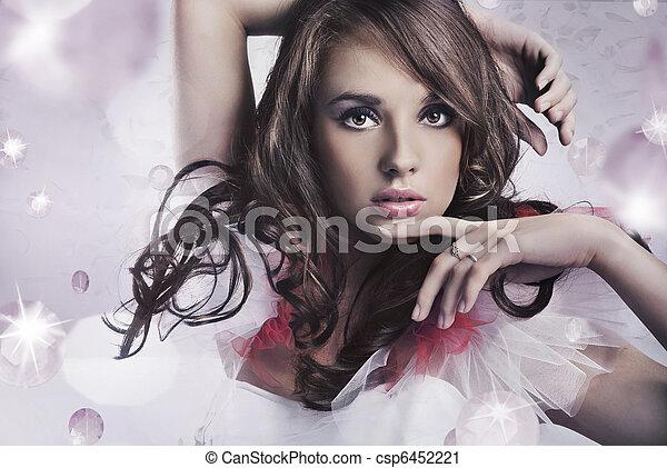 Portrait of a beauty brunette - csp6452221