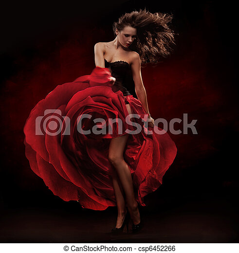 Beautiful dancer wearing red dress - csp6452266