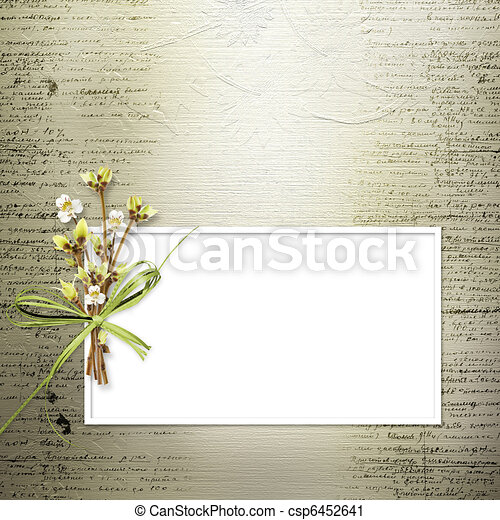 Card for invitation or congratulation with bunch of flowers and twigs - csp6452641