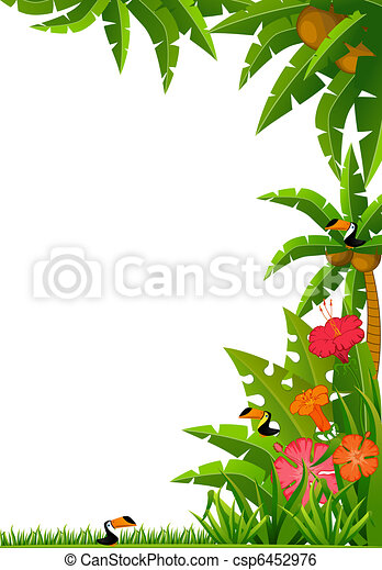 tropical plants and parrots - csp6452976
