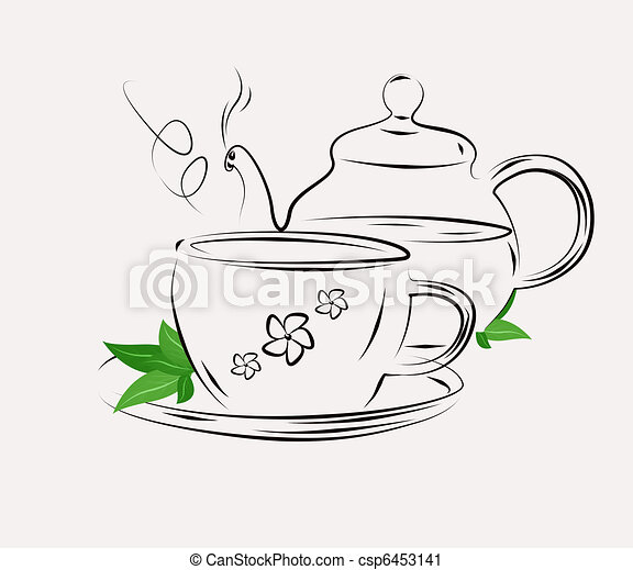 Drawing of tea pot and cup on white - csp6453141