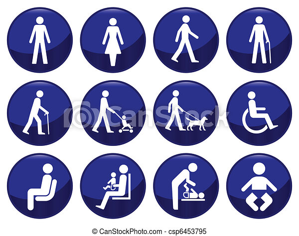 Signage type people icon set  - csp6453795