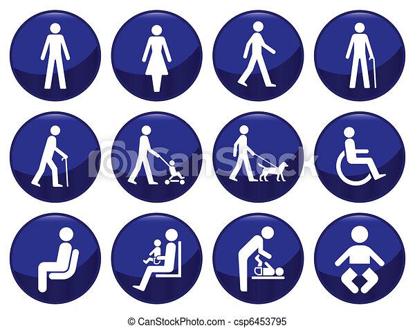 Signage type people icon set  - csp6453795