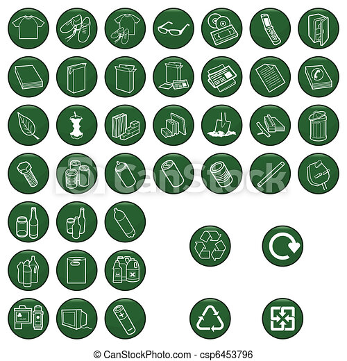 Recyclable material icon set  - csp6453796