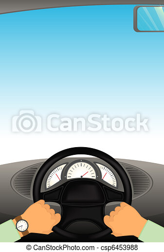 hands hold the helm of automobile - csp6453988