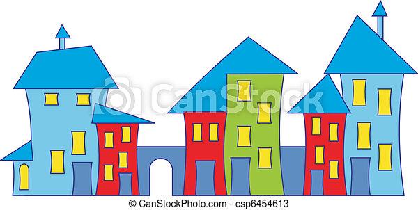 Vectores de caricatura, pueblo, casa, colorido, Casas, vector ...