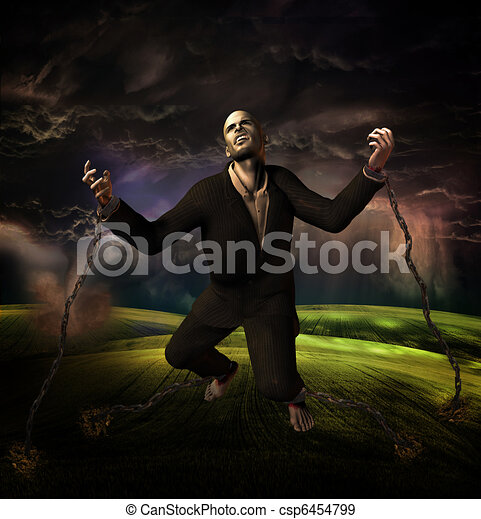 man chained to ground with storm in background - csp6454799