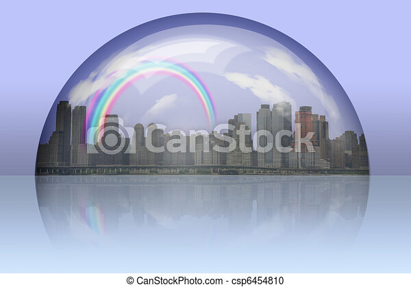 City Enclosed in glass sphere - csp6454810