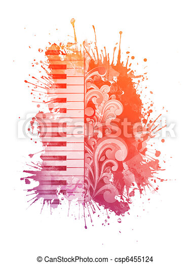 Watercolor Piano - csp6455124