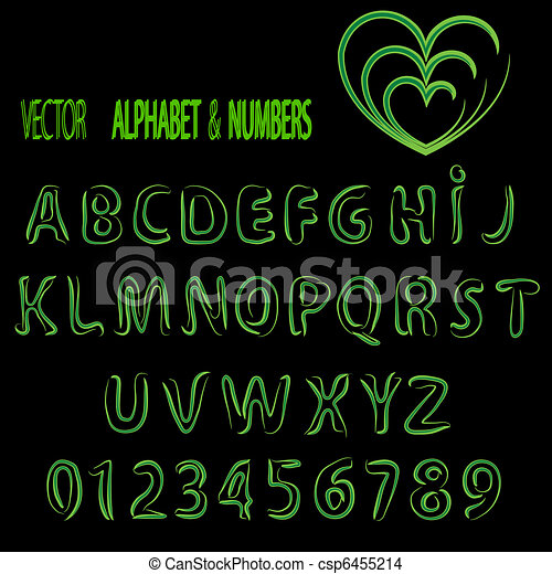 Vector herbal alphabet and numbers - csp6455214