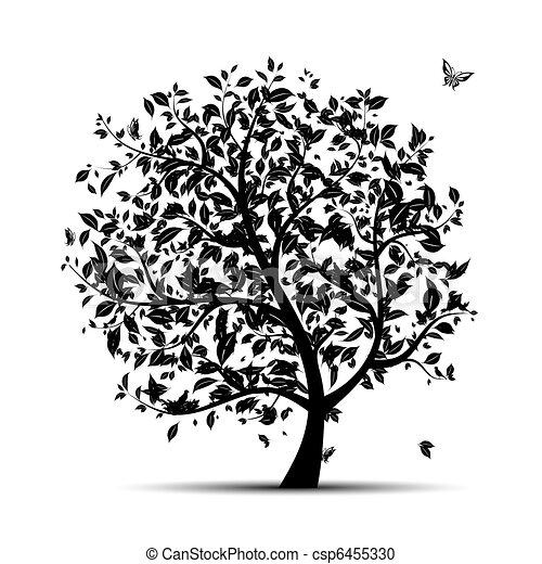 arbre,  art,  silhouette, ton, noir - csp6455330