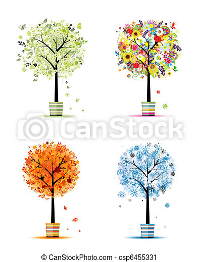 Four seasons - spring, summer, autumn, winter. Art trees in pots for your design - csp6455331