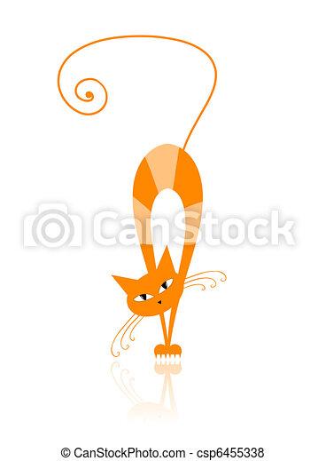 Graceful orange striped cat for your design - csp6455338