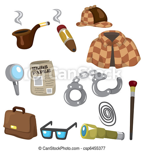 Cartoon detective equipment icon set - csp6455377
