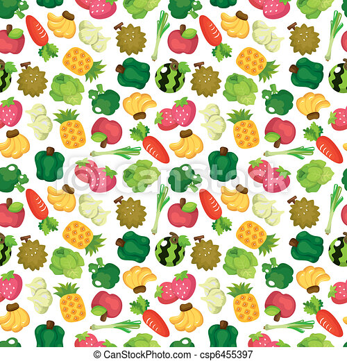 cartoon Fruits and Vegetables seamless pattern - csp6455397