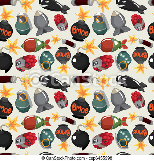cartoon bomb seamless pattern - csp6455398
