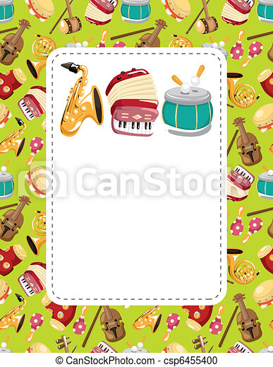 cartoon musical instrument  seamless pattern - csp6455400