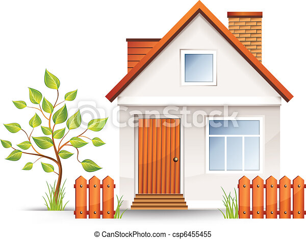 Clipart vector of small house with nice green court yard for Drawing of small house