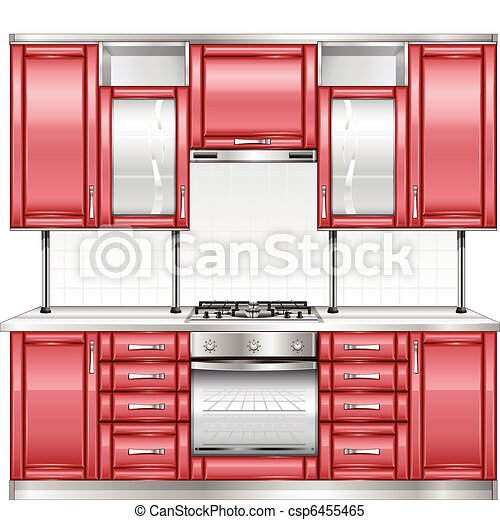 Clipart Vector Of Red Kitchen Modern Kitchen Interior In Red Color Vector Csp6455465