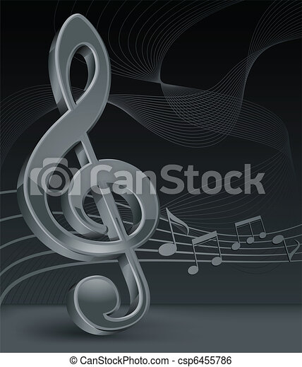 Grey treble clef on black - csp6455786