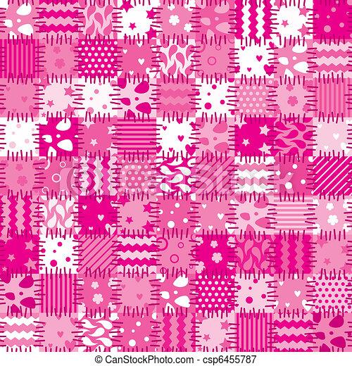 vector pink patchwork art background - csp6455787