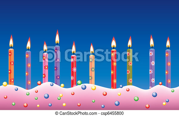 vector row of birthday candles on cake - csp6455800