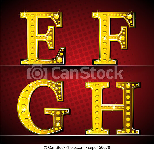 Set Letters With Gold LED Lamp - csp6456070