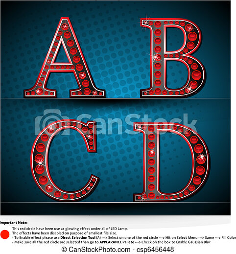 Set Red Letters With LED Lamp - csp6456448