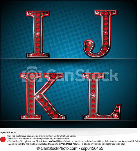 Set Red Letters With LED Lamp - csp6456455