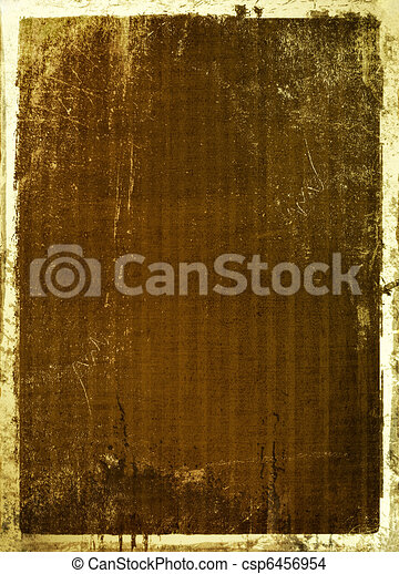 Ancient scratch background with gold edging for announcement - csp6456954